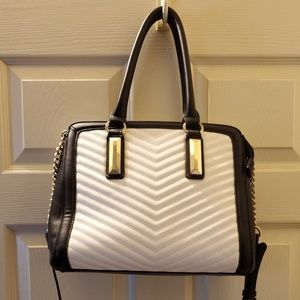 Aldo Quilted Detail Black & White Handbag